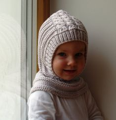 READY TO SHIP size 6-10 years, Merino Wool Balaclava Hat, Baby/ Toddler/ Children Hoodie hat, Sand Grey Helmet 6-12 Months, 1-3-6 years