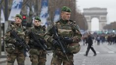 Soldiers of the Foreign Legion patrol the streets of Paris in 2016.