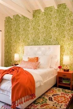 Green + white + orange bedroom: Modern wallpaper + colorful rug, by Nickey Kehoe