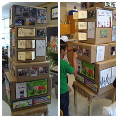 Boxes covered in brown paper & used for display - from crayons, wands & building blocks