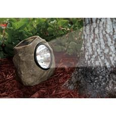 Add this solar powered rock to your garden decor while providing practical lighting at night.