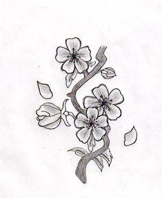Japanese Cherry Blossom Flower Drawing Black And White Cherry Blossom Tattoo Meaning, Cherry Blossom Drawing, Blossom Tree Tattoo, White Cherry Blossom, Cherry Blossom Flowers, Japanese Tattoo Cherry Blossom, Japanese Cherry Tree, Japanese Flowers, Flower Tattoo Designs