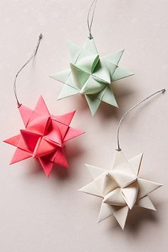 My mom can make these lol! DIY! Origami Star Tie-On - anthropologie.com