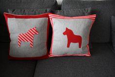 Christmas Pillow with Dala horses