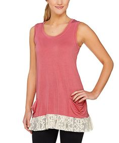 Look what I found on #zulily! Petal Pink Lace-Accent Pocket Tank #zulilyfinds