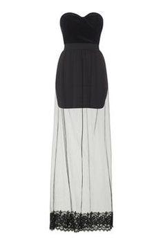 **Velvet Bustier Sheer Maxi Dress by Rare