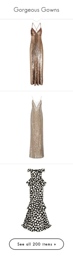 """""""Gorgeous Gowns"""" by hernamewaslily ❤ liked on Polyvore featuring dresses, gowns, gold, sequin embellished dress, brown dress, metallic dress, brown evening gowns, brown sequin dress, long dresses and dresses/gowns"""
