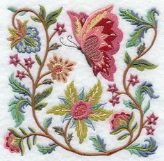 Crewel Embroidery Jacobean Butterfly and Flower Square Dislike machine emb, but could use some design elements Bordado Jacobean, Crewel Embroidery Kits, Vintage Embroidery, Embroidery Applique, Cross Stitch Embroidery, Machine Embroidery Designs, Embroidery Patterns, Broderie Simple, Diy Broderie