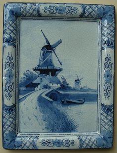 ANTIQUE ROYAL DELFT WALL PLAQUE TILE BLUE & WHITE DE PORCELEYNE FLES WINDMILL