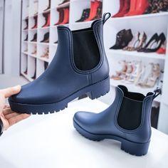 Cizme din cauciuc dama albastre Harlite -rl Rubber Rain Boots, Chelsea Boots, Ankle, Navy, Casual, Kids, Shoes, Fashion, Hale Navy