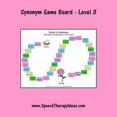 Here's another print-and-play game board for your students that are working on synonyms. Your students will go on a dizzying Speech Therapy Games, Therapy Activities, Therapy Ideas, Language School, Speech And Language, Picture Cards, Level 3, Word Games, School Stuff