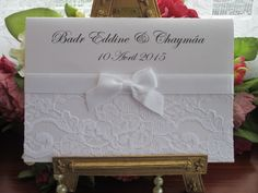 B0005 Chantilly Lace Pearlescent Wedding Invitation White, Vintage Lace Wedding Cards