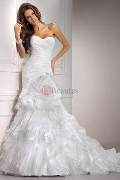 2012 Wedding Dresses Trumpet/Mermaid Sweetheart Court Train Organza