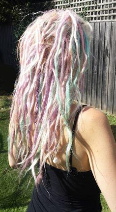 My pink purple blue pastel dreadlocks dyed dreads. My little pony hair. I think it looks like fairy floss :-) and I love fairy floss!