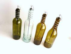 Wine Bottle Stick Incense Burner Clear Gold Olive Or by BoMoLuTra, $11.99