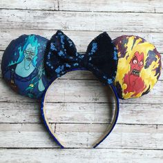 Hades Ears - (Made to Order) by ArtsyLizFlores on Etsy Diy Mickey Mouse Ears, Micky Ears, Diy Disney Ears, Disney Mickey Ears, Cute Disney, Anna Disney, Disney Day, Disney College, Disney Bound