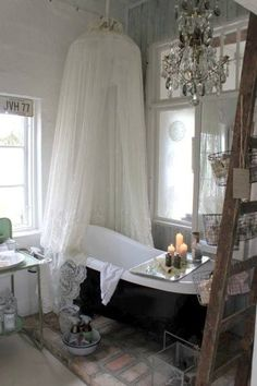 ♔ Enchanted Fairytale Dreams ♔ Not sure about the curtain, but I love the stand-alone bath and the soap tray.
