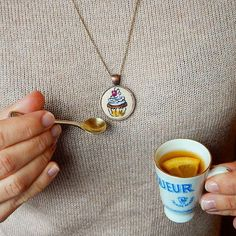 Pendant Cupcake handmade necklace miniature by Microstitch on Etsy