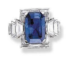 A SAPPHIRE AND DIAMOND RING, BY OSCAR HEYMAN BROTHERS