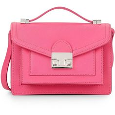 Loeffler Randall Mini Rider Leather Convertible Bag (495 BRL) ❤ liked on Polyvore featuring bags, handbags, shoulder bags, hand bags, pink purse, man bag, leather hand bags and man leather shoulder bag