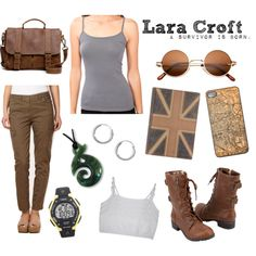 Inspired Look: Lara Croft [Tomb Raider (2013)] by badducks on Polyvore featuring Forever 21, Mantaray, Soda, Roots, Timex, survivor, traveller, video games, explorer and lara croft