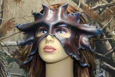 leather burgundy smokey leaf mask by TBTOBEDESIGNED1 on Etsy