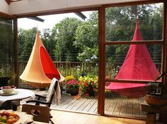 Suspended and oversized hammock chairs are the latest outdoor craze and fabulous idea for interior decorating