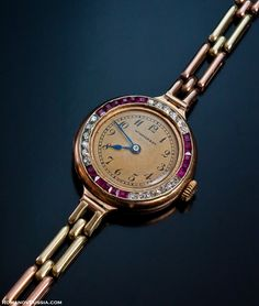 antique vintage jeweled gold ladies wristwatch for sale Henri Moser Russian Swiss watches
