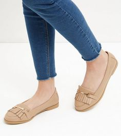 Wide Fit Stone Fringe Metal Trim Loafers  | New Look ------ 27.99€