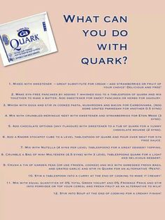 Recipe/food ideas to use Quark for (syn free slimming world ingredient) Slimming World Survival, Slimming World Desserts, Slimming World Dinners, Slimming World Recipes Syn Free, My Slimming World, Slimming World Lunch Ideas, Slimming Word, Slimming Eats, Going To The Gym