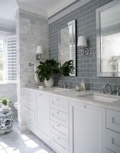 master bathroom inspiration Georgian Dream - traditional - bathroom - raleigh - by Heather Garrett Design Hampton Style Bathrooms, Grey Bathrooms, Bathroom Renos, Beautiful Bathrooms, Small Bathroom, Master Bathroom, Bathroom Cabinets, Bathroom Remodeling, Bathroom Makeovers