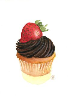 Cupcake 36 - Original Watercolor Painting 8x6 inches via Etsy