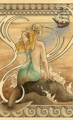 Mermaid sits on a water sprayed rock in the ocean and watches a ship approach…