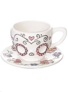 Sweet Sugar Skull Teacup & Saucer by One Hundred 80 Degrees   Drinkware   PLASTICLAND
