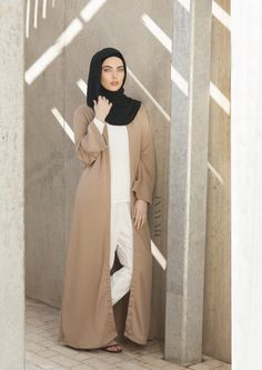 INAYAH | Stylish neutral looks with flawless cuts. A simple and stylish coat for Spring -Mocha Round Neck Maxi #Coat + White #Crepe #Top + White Tapered #Trousers + Black Maxi Georgette #Hijab - www.inayah.co  http://www.lissomecollection.co.uk/Georgette-hijab-black
