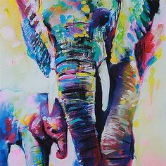 Unframed Cartoon Animal Elephant Son Oil Painting Abstract Painting Canvas Wall Art Home Decoration   50*50cm 1pcs