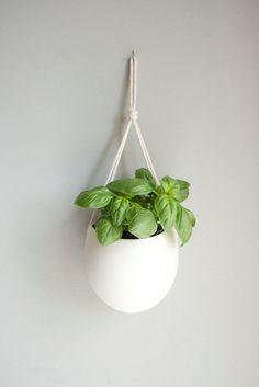 Hanging Porcelain Rope Planter - Farrah Sit