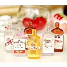 """Little Drink Wine Whiskey Bottles www.teeliesfairygarden.com """"Whiskey is a bottle of sunshine."""" Put a smile or grin on your gnomes faces with these whiskey bottles. But make sure they wouldn't have too much of this goodness. #fairywhiskey"""