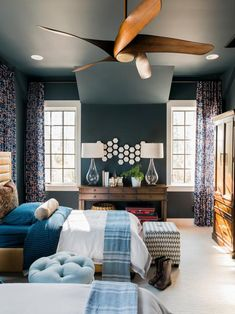 Bold, fresh colors combined with striking patterns create an inviting and youthful space. This stunning bedroom in the HGTV® Smart Home 2018 was painted with Dark Night Decor, Home Bedroom, Bedroom Pictures, Smart Home, Bedroom Decor, Home Projects, Interior Design, Home Decor, Small Bedroom