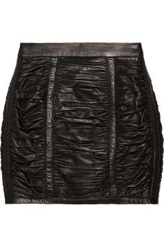 Balmain|Ruched leather mini skirt|NET-A-PORTER.COM