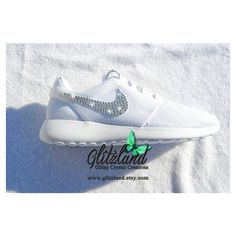 Swarovski Nike Girl Woman White Nike Roshe Run Blinged With Swarovski... ($129) ❤ liked on Polyvore featuring shoes, silver, sneakers & athletic shoes, women's shoes, clear shoes, swarovski crystal shoes, white shoes, white sparkly shoes and sparkly shoes