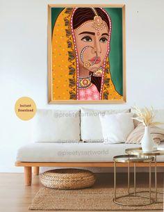 Indian Wall Art, Portrait Wall, Woman Painting, Abstract Wall Art, Traditional Art, Art World, Female Art, Printable Wall Art, Illustration Art