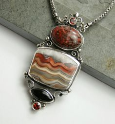 Agate necklace one of a kind sterling silver by ElementalJewelryCo, $250.00