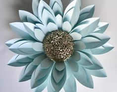 6 Giant Paper Flowers in navy blue white and gold