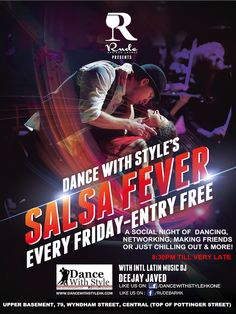SALSA FEVER PARTY AT RUDE BAR, CENTRAL - EVERY FRIDAY - ENTRY FREE! A night of pure unadulterated social dancing, drinking, mingling, networking, eating sumptuous food and more with international Latin Music DJ, DEEJAY JAVED spinning the spiciest of SALSA, BACHATA AND MAMBO with a sprinkling of MERENGUE, REGGAETTON, ZOUK and more!  http://dancewithstylehk.com/salsa-fever/ Like: https://facebook.com/dancewithstylehkone Subscribe: https://www.youtube.com/user/DANCEWITHSTYLEHK