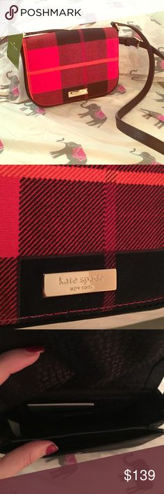 NWT Kate Spade Crossbody Red and black design. Adjustable strap ! NWT. Open to offers! And questions. Feel free to ask :) kate spade Bags Crossbody Bags