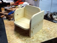 Childrens / Toddler Chair Hand crafted with knotty pine wood. Wooden kids chair age 9-36 months vintage