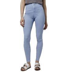 Topshop 'Joni' High Rise Skinny Jeans ($68) ❤ liked on Polyvore featuring jeans, light denim, skinny jeans, bleached jeans, skinny fit jeans, high-waisted jeans and super skinny jeans