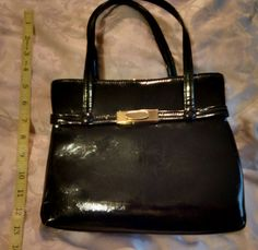 b6132f7e4101b Items similar to 1950's Black Patent Leather Purse, Pocketbook, Kelly  Style, Rockabilly, Pinup, Mad Men Style, Pocketbook, Photo Prop ~~ REDUCED  on Etsy