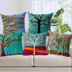 Hand-painted Oil Paintings Small Fresh Flower Tree Cotton Pillow Office Car Sofa Cushion Cushion Cover Home Decoration 45*45cm
